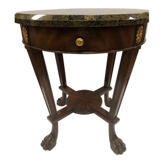 Maitland Smith Signed Mahogany, Marble and Brass Round Side Occasional Table For Sale