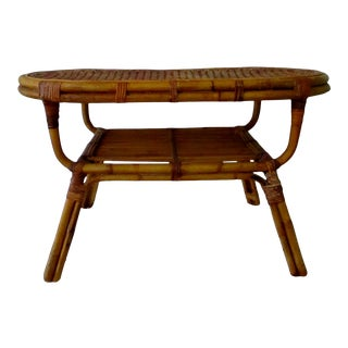 Vintage Italian Mid-Century Modern 1960's Oval Rattan Coffee Table With Undershelf For Sale