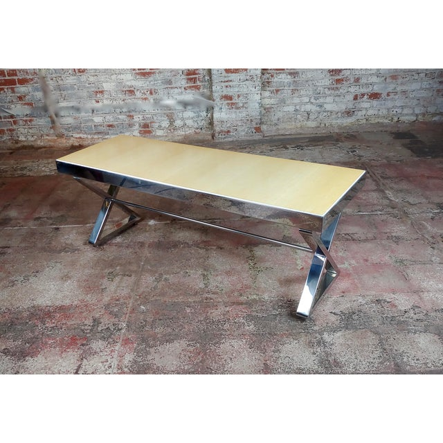 Beautiful Designer Chrome Coffee Table With Lacquered Wooden Top For Sale - Image 10 of 10