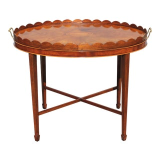 "Mid-Century Modern Signed Baker ""Collectors Edition"" Exotic Burl Amboyna Tea Table For Sale"