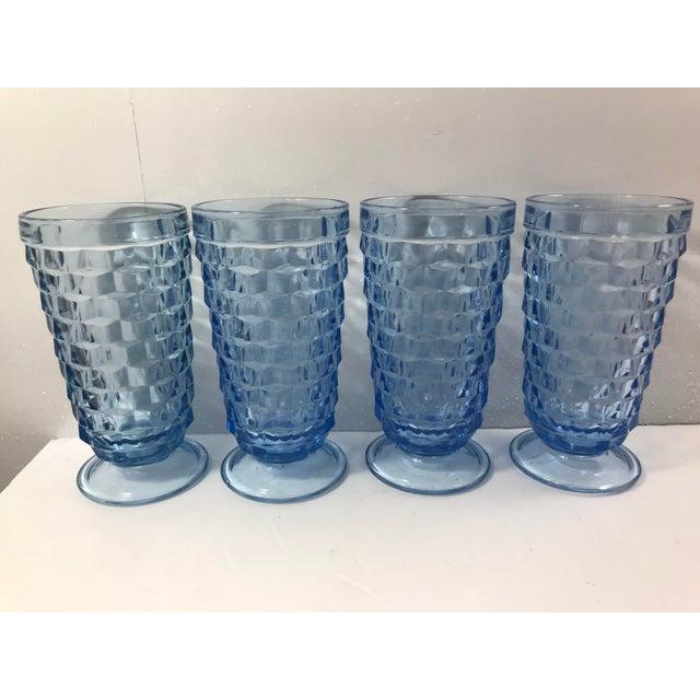 Set of 4 vintage Indiana Glass Whitehall Cubist Fostoria light blue ice tea glasses. 3 sets available.