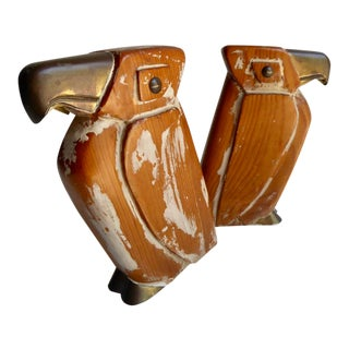 Pair of Wood and Brass Abstract Bird Statuettes Attributed to Sarreid Ltd. C. 1960s For Sale