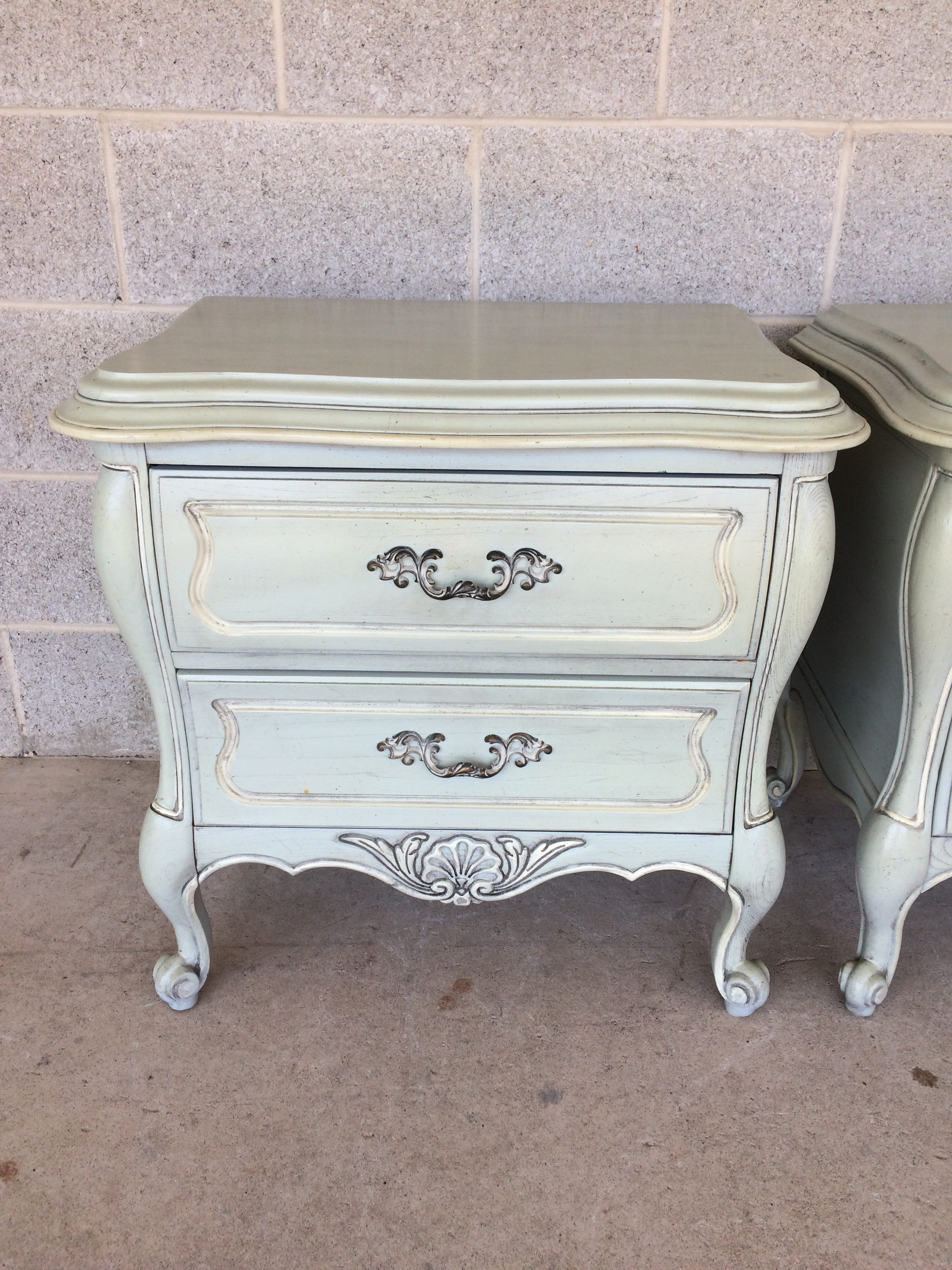 Hickory White French Provincial Bombay Nightstands A Pair
