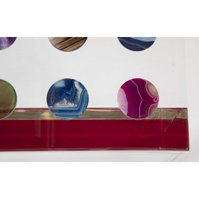 White Unique Contemporary Lucite Coffee Table With Agate Inlaid Discs For Sale - Image 8 of 13