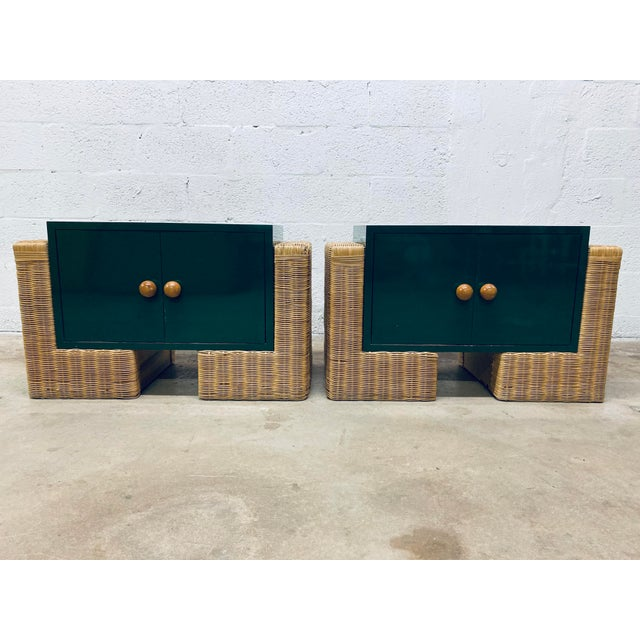 Mid Century Modern Rattan Nightstands, 1970s - a Pair For Sale In Miami - Image 6 of 12