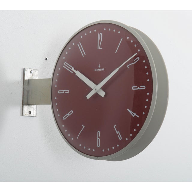 Siemens Halske Double Faced Train Station, Wokshop, Factory Clock For Sale - Image 4 of 10