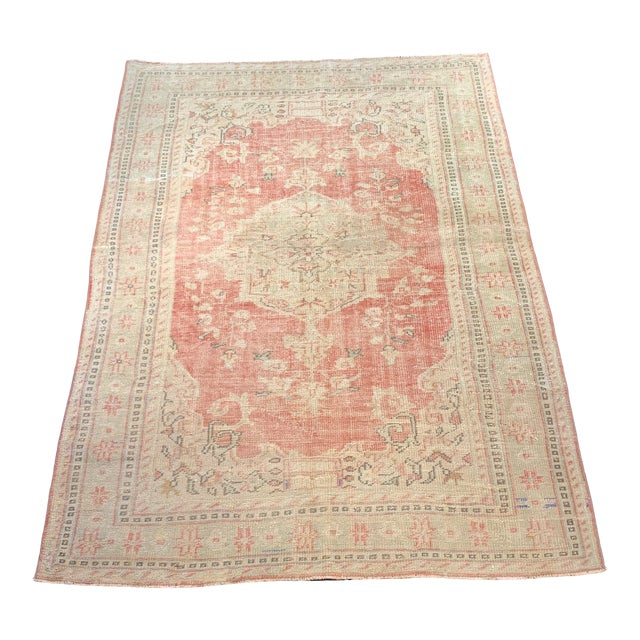 1920s Antique Distressed Turkish Oushak Area Rug - 6′6″ × 9′4″ For Sale