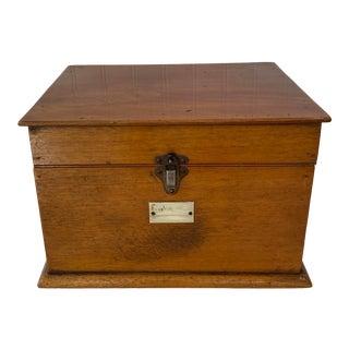 1920s British Pine Document Keepsake Box With Metal Latch For Sale