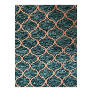 Moroccan Turquoise Chenille Upholstery Fabric - 5 Yards For Sale