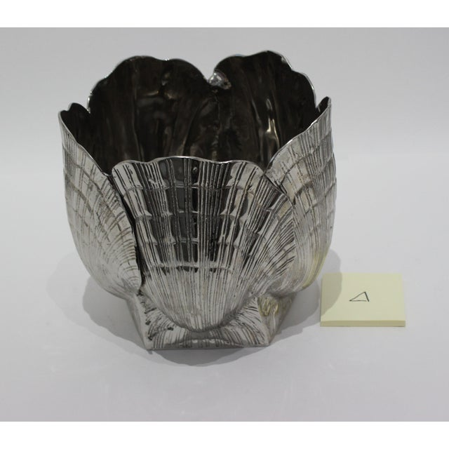 """Nickel Plated Bronze Clamshell 9"""" Cachepot or Ice Bucket For Sale In West Palm - Image 6 of 10"""