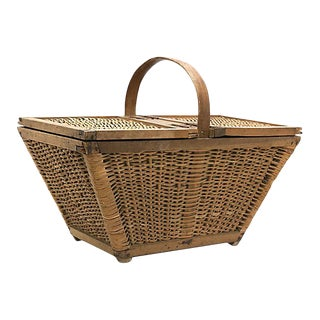 Mid-Century English Wicker Picnic Basket For Sale