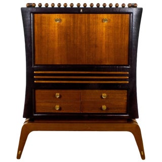 1930s Art Deco Dry Bar, African Mahogany, Leather, Mirror, Glass, Brass, Italy For Sale