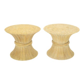 Pair of Sheaf of Bamboo Wheat Side End Occasional Tables Pedestals by McGuire For Sale