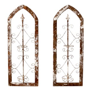 Antique Wrought Iron Garden Panels - Set of 2 For Sale