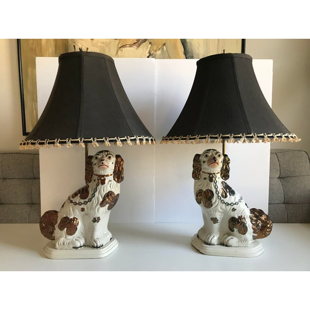 Antique English Staffordshire Spaniel Dog Lamps - A Pair - Image 8 of 9