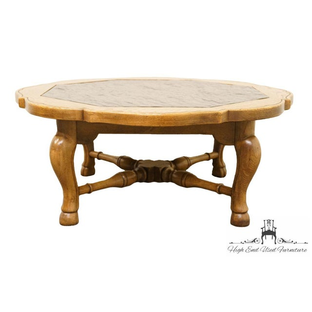 """Late 20th Century Thomasville Furniture Chateau Provence Collection 42"""" Slate Top Coffee Table For Sale - Image 5 of 11"""