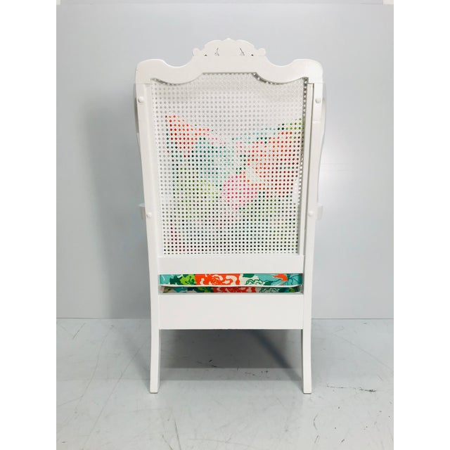 Vintage Caned Wing Chair With Lilly Pulitzer Outdoor Fabric For Sale - Image 4 of 8