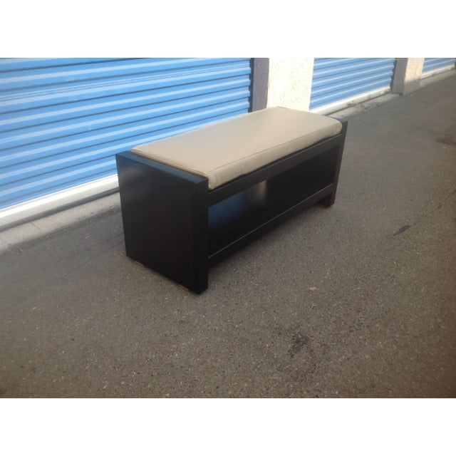 Modern Ottoman With Leather Cushion For Sale - Image 4 of 5