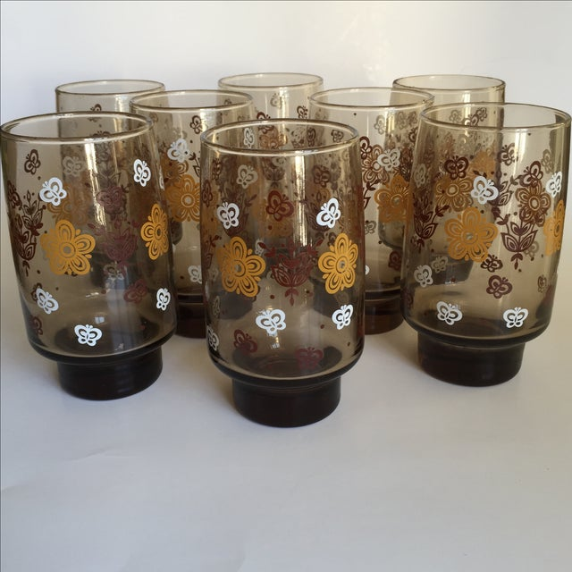 Mid-century Smoky Butterfly Glasses - Set of 8 - Image 2 of 9