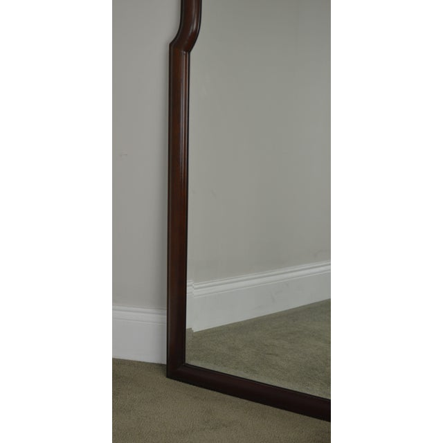 Hickory Chair Co. Pair Solid Mahogany Frame Arch Top Beveled Mirrors For Sale - Image 12 of 13