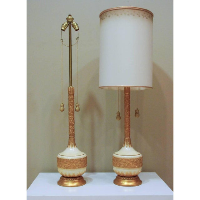 Circa 1950 Hollywood Regency Plaster & Gilt Lamps - A Pair For Sale - Image 4 of 5