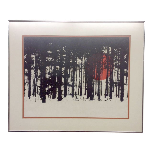 Monochrome Forest Screen Print with Red Sun - Image 1 of 6