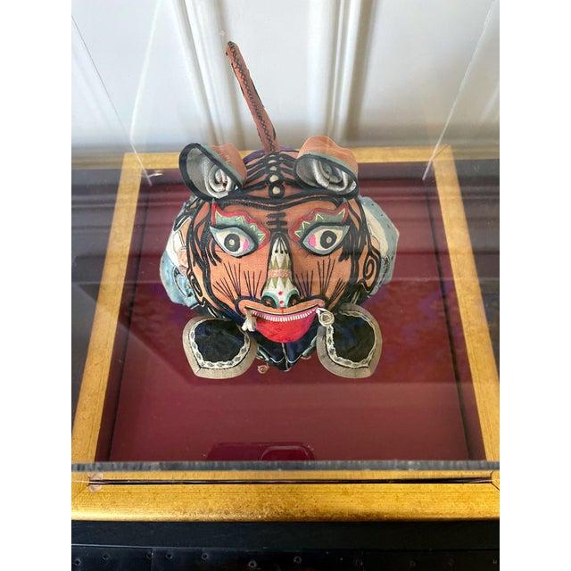 Orange Framed Antique Chinese Child Tiger-Head Hat For Sale - Image 8 of 12