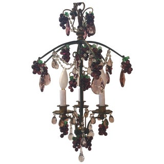 Elegant Bronze and Crystal Fruit Adorned Light Fixture For Sale