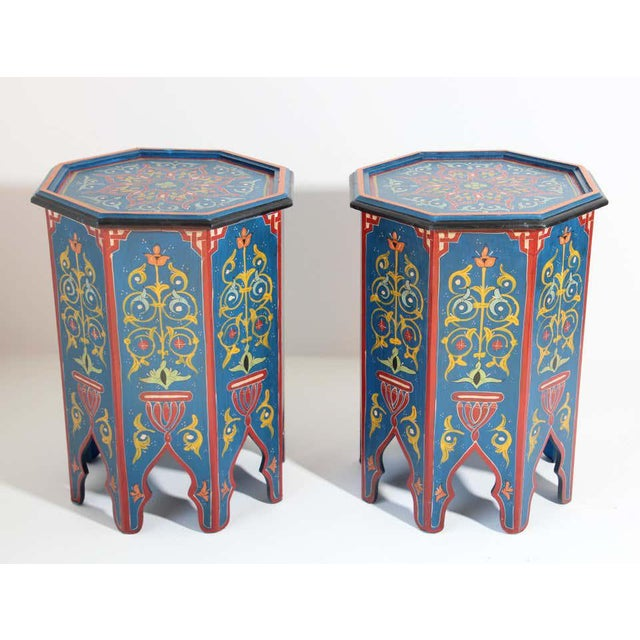 Late 20th Century Hand Painted Blue Moroccan Pedestal Tables - a Pair For Sale - Image 5 of 13