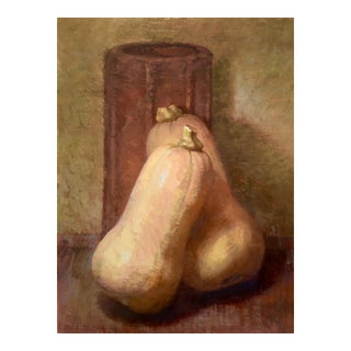 "Brown Contemporary Still Life ""Two Squash"" For Sale"
