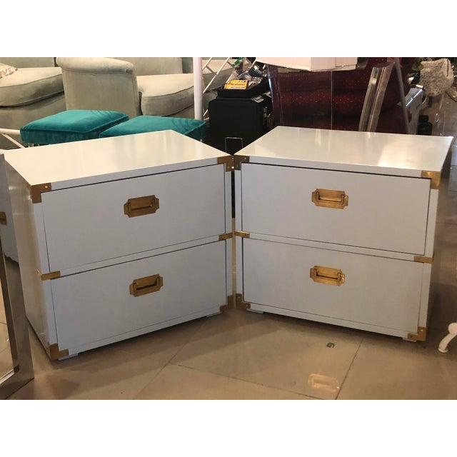 Vintage Lane Furniture Newly Lacquered Powder Blue Brass Campaigner Nightstands Chests -A Pair For Sale In West Palm - Image 6 of 13