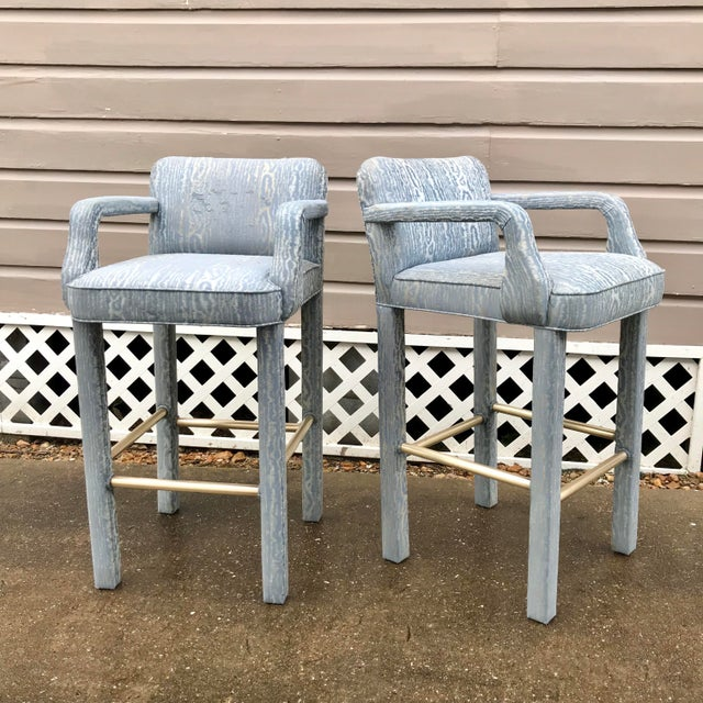 Blue Vintage Parsons Bar Stools - a Pair For Sale - Image 8 of 8