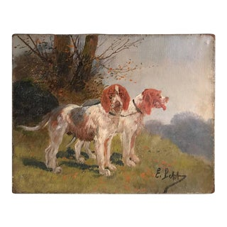 19th Century Miniature Oil Painting on Canvas of Dogs
