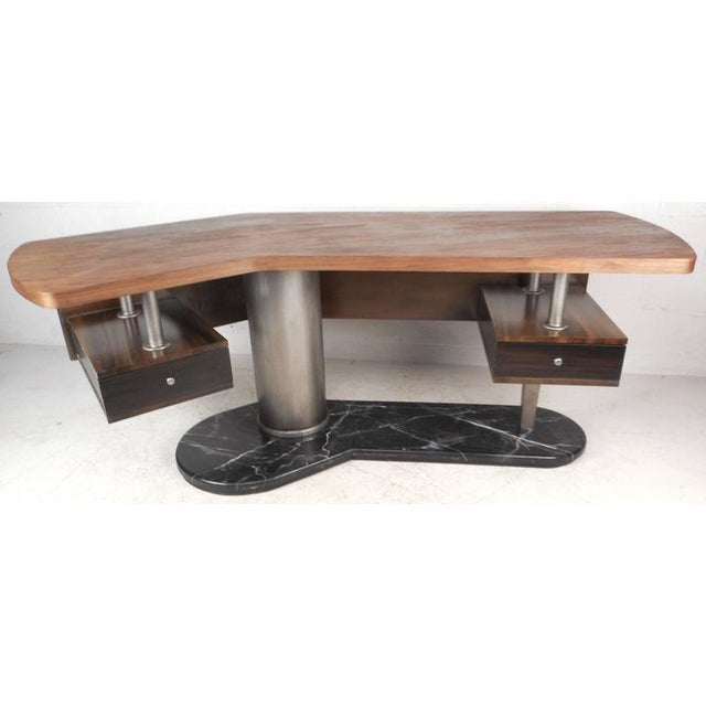 This beautiful contemporary modern desk features a heavy black base with a sculpted floating tabletop. Unique desk shape...