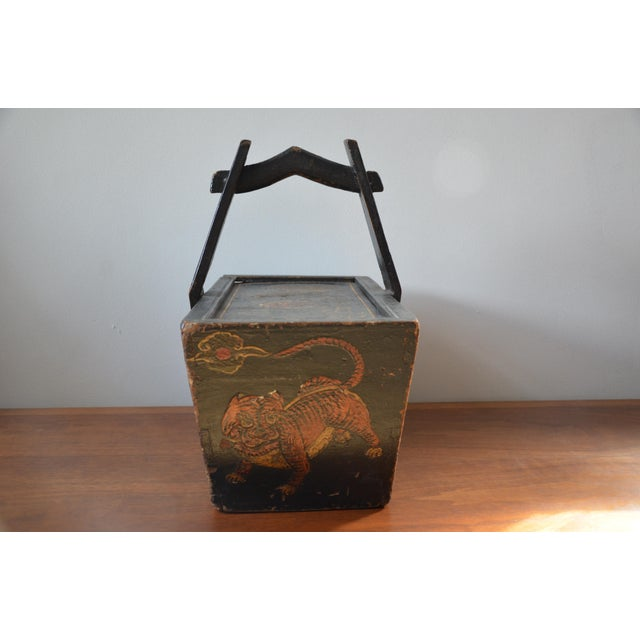 Antique Hand Painted Chinese Wooden Rice Box With Tiger & Dragon For Sale - Image 12 of 13
