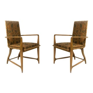 Mid-Century Maple and Floral Upholstered Studio Arm Chairs, Pair For Sale