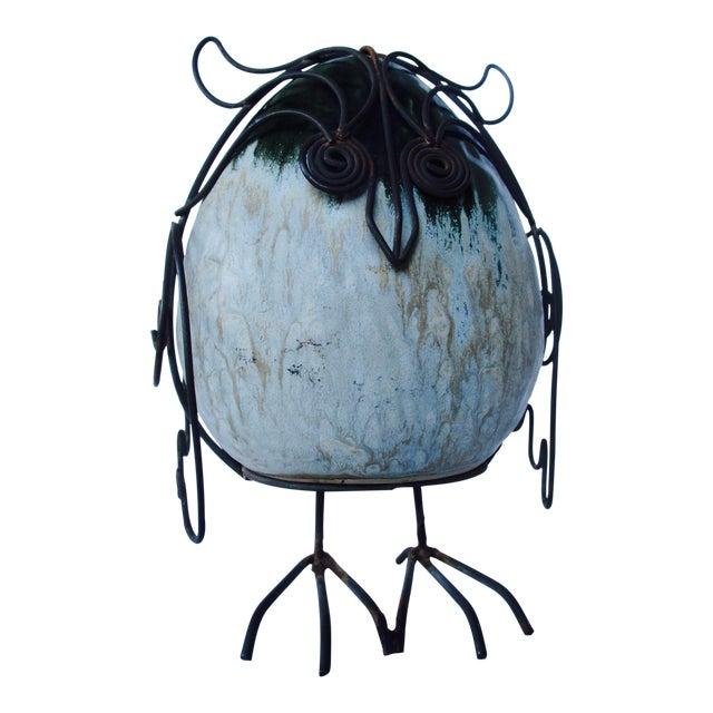 Ceramic Glazed Owl on Wire Stand - Image 1 of 10