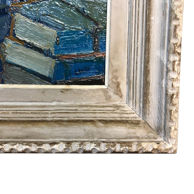 Abstract 20th Century Stacked Books Painting by Daniel Clesse For Sale - Image 3 of 5