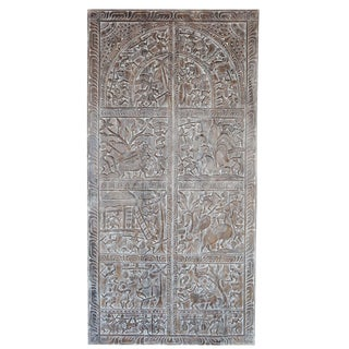 Early 20th Century Vintage Hand Carved Tribal Wall Hanging Panel Decor For Sale