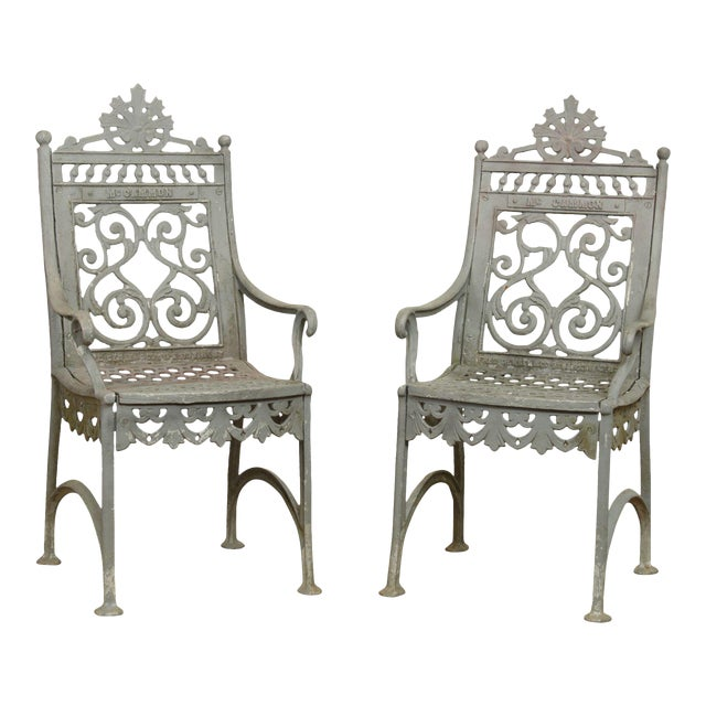 Antique Cast Iron Pair of Garden Cemetery Armchairs, Fred Gensel & Co. For Sale
