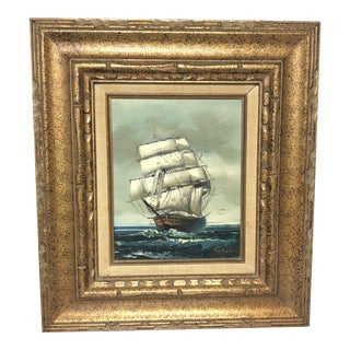 1960s Seascape Nautical Ship Oil Painting by Vaseo