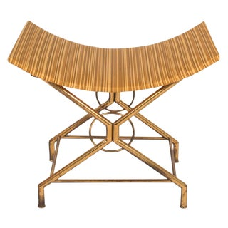 Italian Brass Saddle Scoop Seat Bench after Gio Ponti For Sale