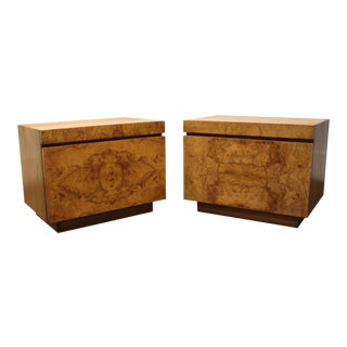 Lane Furniture Milo Baughman Style Mid Century Modern Burl Wood Nightstands a Pair For Sale