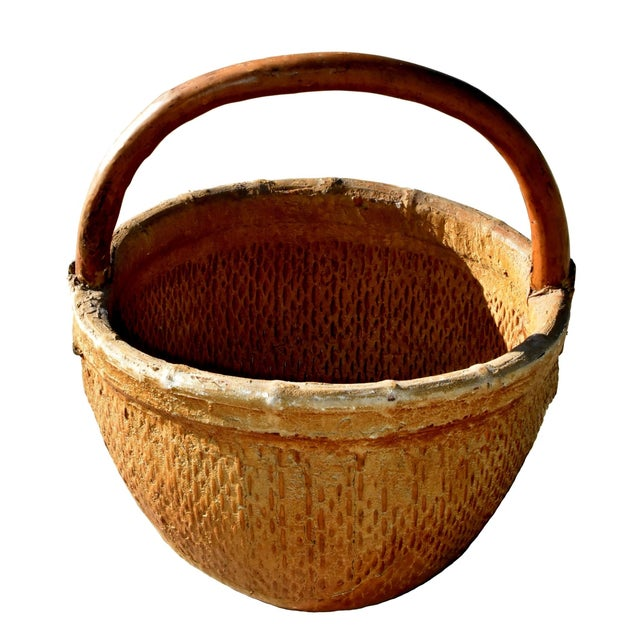 Chinese Country Willow Basket With Tree Branch Handle For Sale - Image 13 of 13