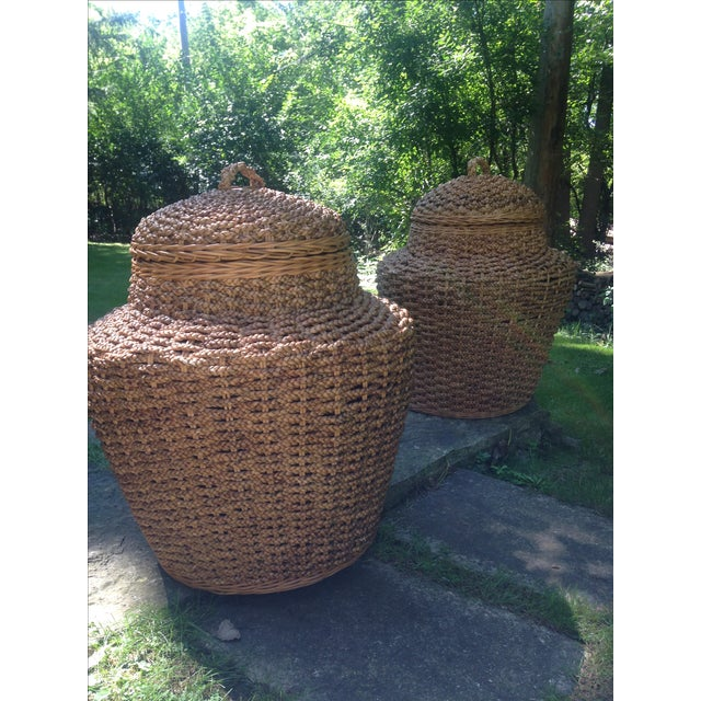 Giant Braided Seagrass Baskets - Pair - Image 2 of 7