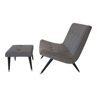 Scoop Lounge Chair and Ottoman in the Style of Milo Baughman