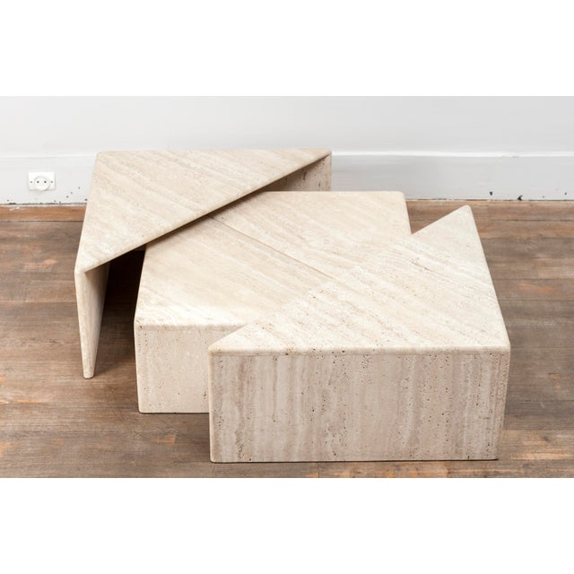 1970s A Large Set of Eight Travertine Elements Forming One or More Coffee Tables For Sale - Image 5 of 11