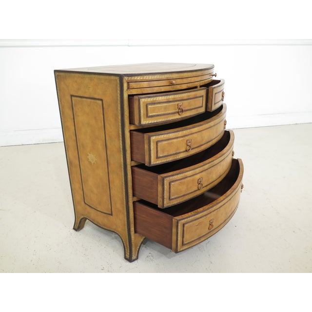 1990s 1990s Art Deco Maitland Smith Bow Front Leather Bachelor Chest For Sale - Image 5 of 13