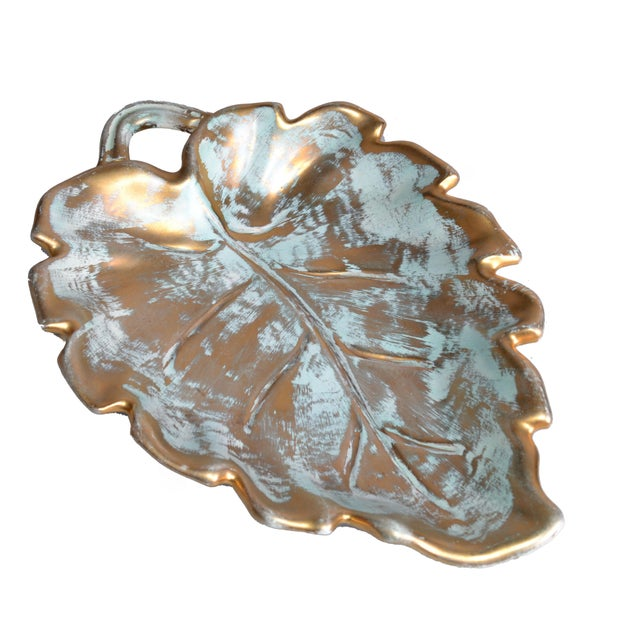 Lodge Stangl Gold Leaf Ceramic Catchall Bowl For Sale - Image 3 of 9
