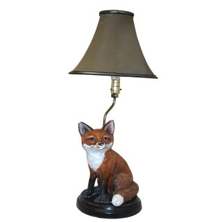 1960s Fantastic Mr. Fox Porcelain Lamp and Shade From Atlantic Mold Co. For Sale